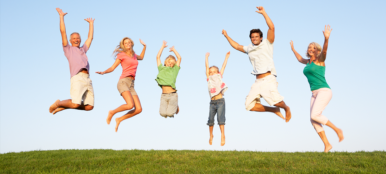 happy and jumping family